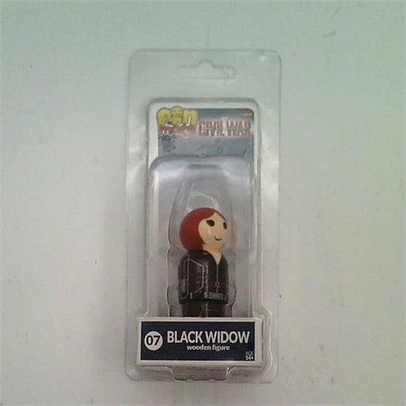 MARVEL PIN MATE BLACK WIDOW #07CIVIL WAR BIF BANG POW 2 WOODEN FIGURE (Avenger Black Widow)