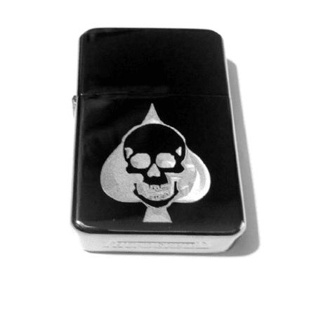 Vector KGM Thunderbird Custom Lighter - Skull ACE of Spades Playing Cards Gamble Poker Logo Black Sparkle ICE High Polish Chrome Rare!