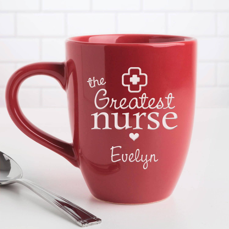 Personalized The Greatest Nurse 14.5 oz Red Bistro Coffee Mug