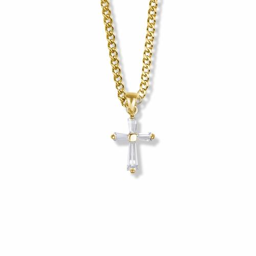 18-Inch Hamilton Gold Plated Necklace with 4mm Light Rose Birthstone Beads and Maltese Crucifix Charm.