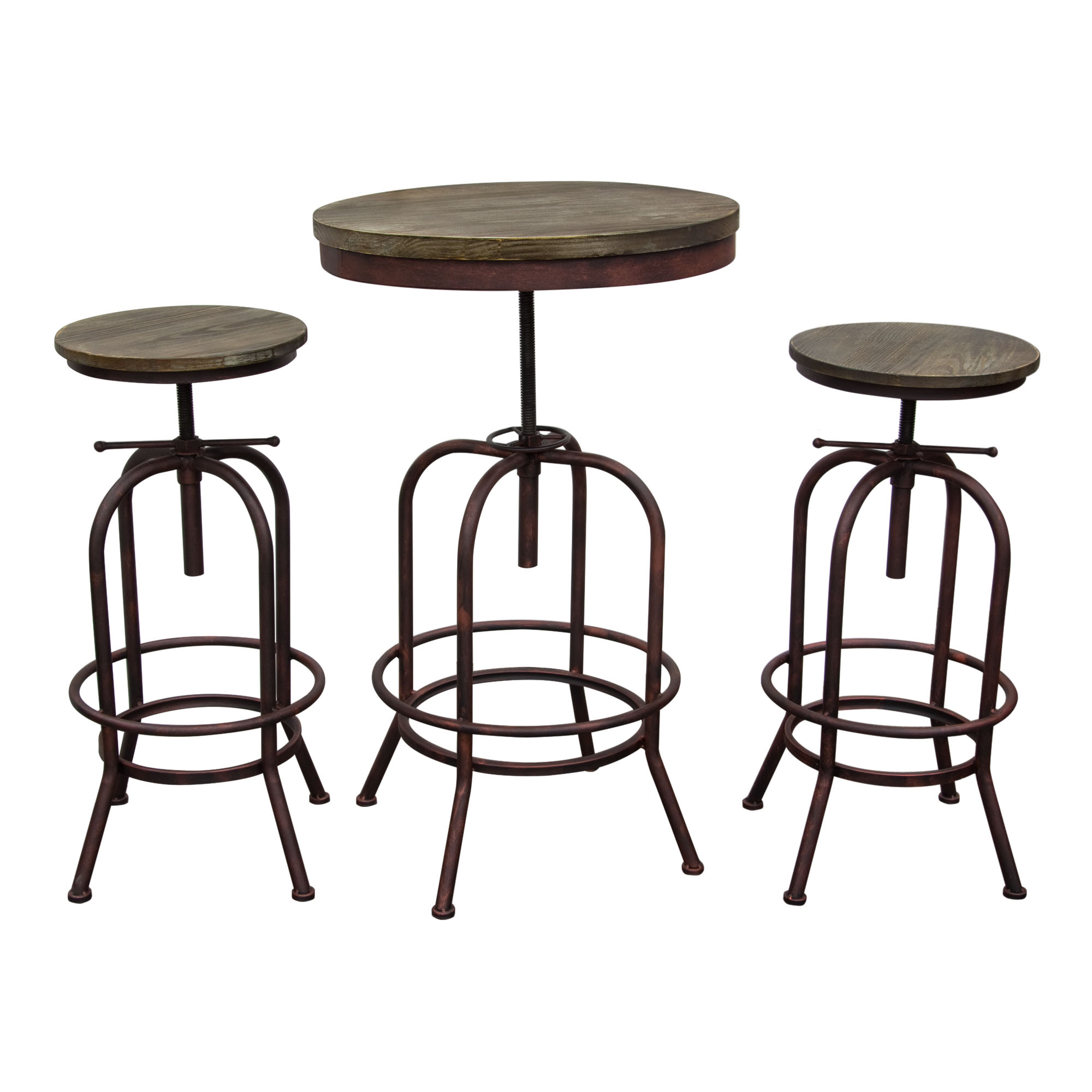 fairfax bistro table 3pc set with weathered brown top and rust black iron base with 2