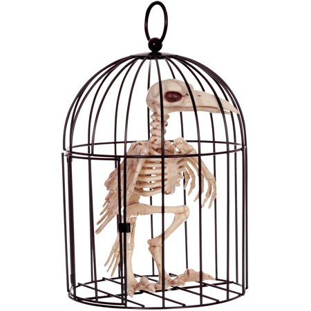 Skeleton Crow In Cage Halloween Decoration (Halloween Skeleton Head Clipart)