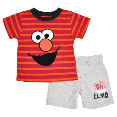 Sesame Street Sesame St Baby Boys Elmo Striped T Shirt Shorts