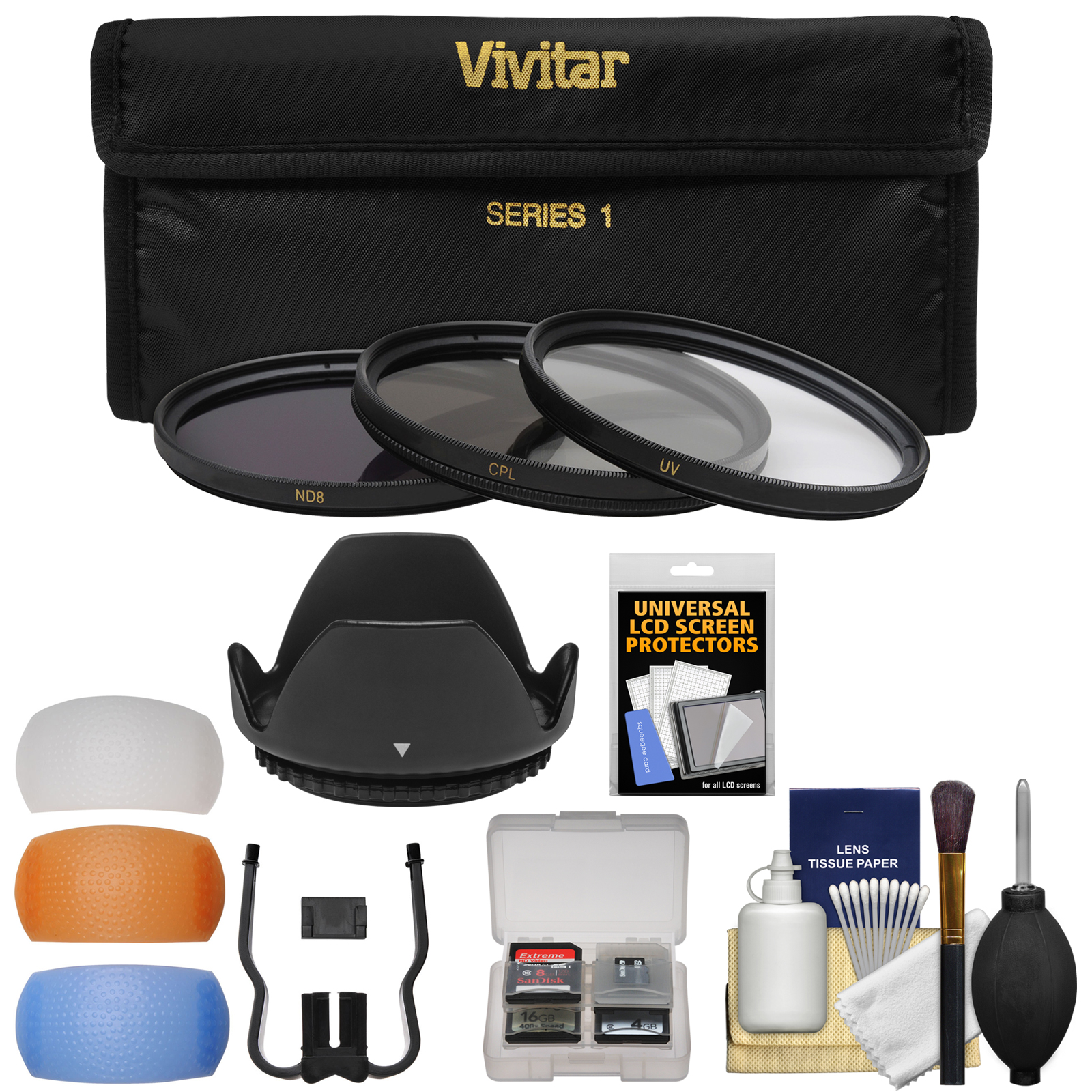 Vivitar 3-Piece Multi-Coated HD Filter Set (52mm UV/CPL/ND8) with Lens Hood + Diffusers + Accessory Kit