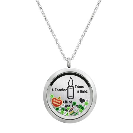 A Teacher Takes A Hand ... Touches A Heart Stainless Steel Locket Pendant Floating Charms Necklace - Special Teacher](Floating Charm Necklace)