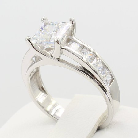 2.50 Ct 14K Real White Gold Fancy Square Princess Cut Center with Channel Set Side Stones 4 Prong Trellis Setting Solitaire Engagement Bridal Wedding Propose Promise (Channel Solitaire)
