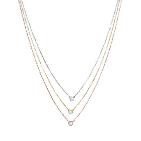 Graduated Tri Tone Necklace with CZs Charm Necklace Gift Rose Gold Plated