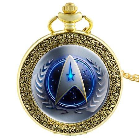 Star Trek Pocket Watch Blue Face Gold Anti-Tarnish Federation Symbol WP-ST-5