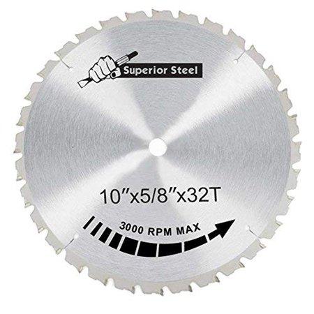 Superior Steel 25032 10 Inch X 32 Teeth X 5/8 Inch Arbor Ferrous Metal Cutting Carbide Tipped Saw Blade 10' Non Ferrous Metal