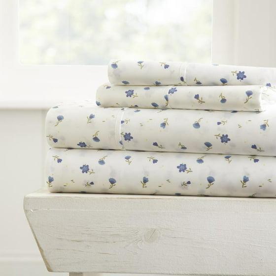 Le Linens Premium Ultra Soft Fl Pattern 4 Piece Bed Sheet Set