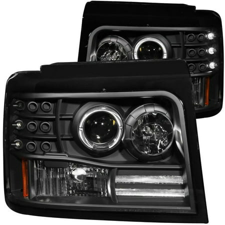 Black Projector - ANZO USA 111184 92-96 F150/F250/ BRONCO PROJECTOR HALO BLACK W/SIDE MARKER W/PARKING LIGH
