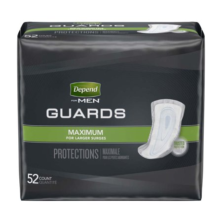 Depend Guards for Men Bladder Control Pad 12 Inch Length Heavy Absorbency Absorb-Loc One Size Fits Most Male Disposable, 13792 - Pack of 52