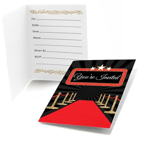 Red Carpet Hollywood - Fill In Movie Night Party Invitations (8 count)](Movie Night Invitations)