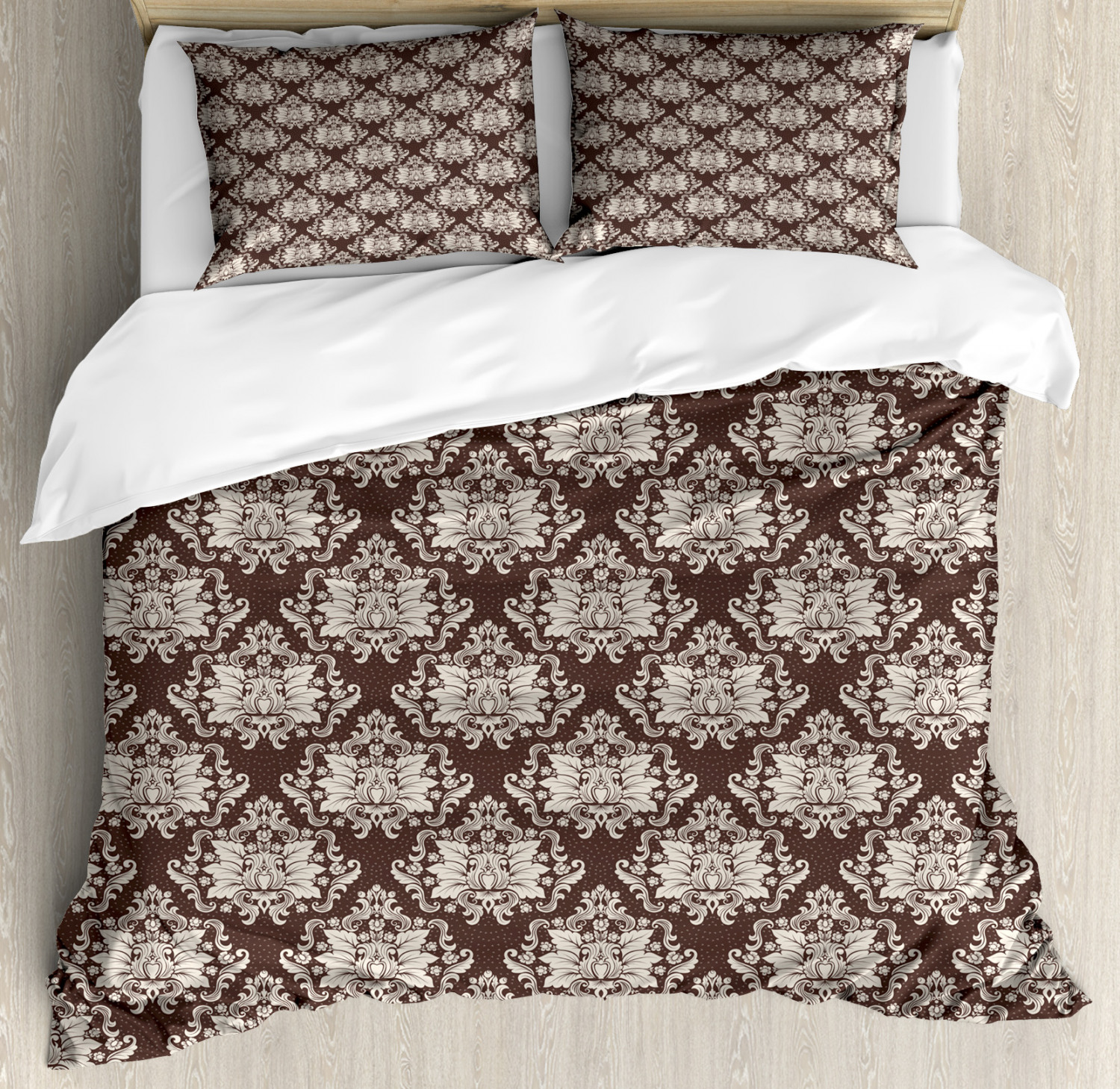Damask King Size Duvet Cover Set Victorian Floral Pattern With Blooming Foliage Leaves On Dark Toned Backdrop Decorative 3 Piece Bedding Set With 2 Pillow Shams Brown And Beige By Ambesonne