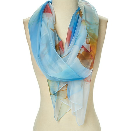 Sheer Scarfs for Women Winter Summer Floral Scarves Lightweight Evening Prom Scarf Flower Casual Long Neck Wraps Gifts Online by Oussum