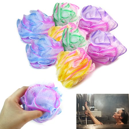 8 Bath Shower Puff Sponges Loofah Mesh Ball Exfoliating Body Brush Scrubber Wash