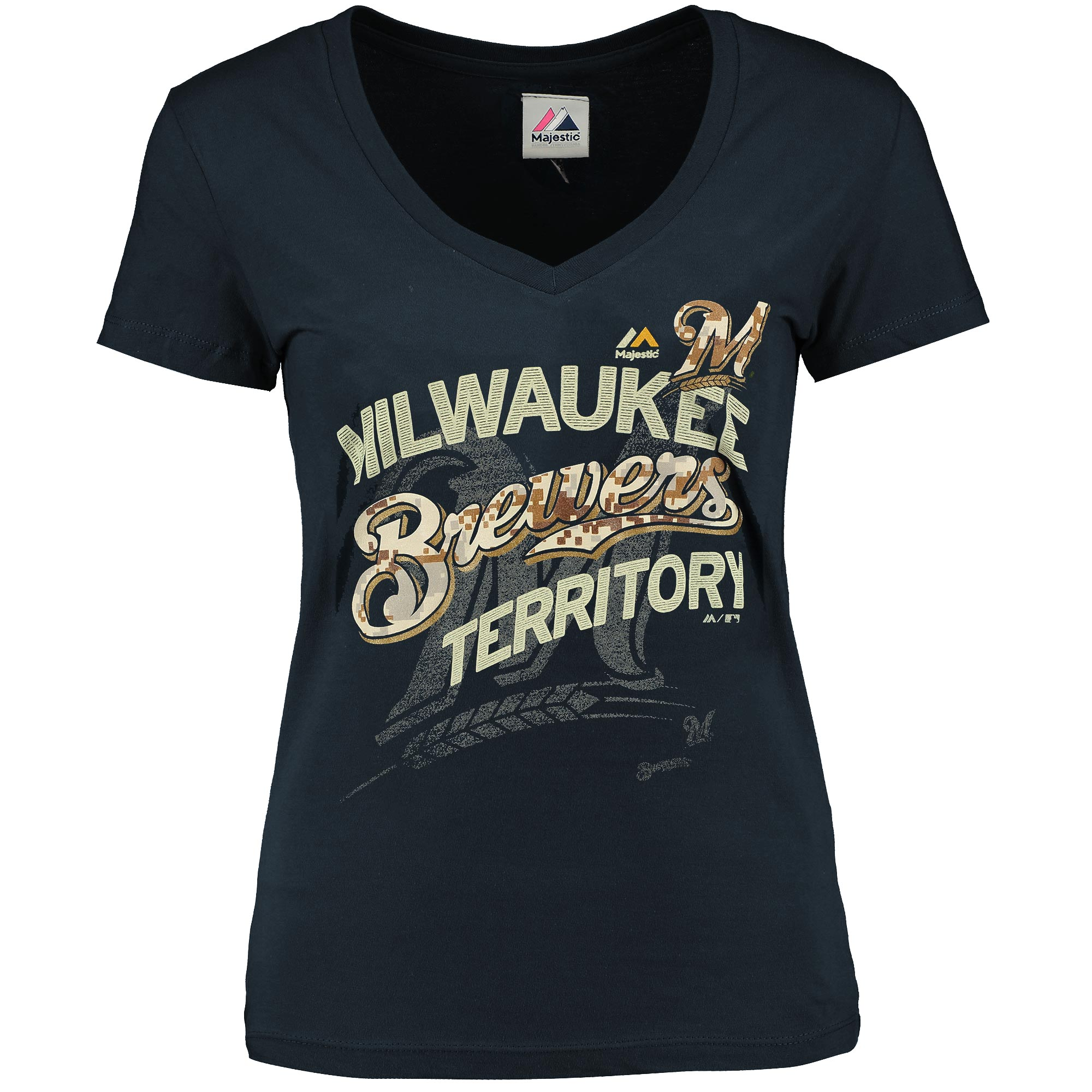Milwaukee Brewers Majestic Women's Memorial Day On a Path V-Neck T-Shirt - Navy