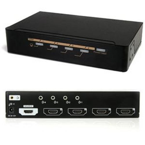 StarTech ST124HDMI2 StarTech 4 Port HDMI 1.3 Video Splitter with Audio - Video splitter - 4 x HDMI + 4 x audio - desktop