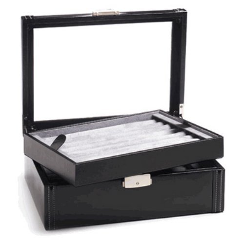 Deluxe Black Leather Cufflinks Collector's Case - 11W x 3.5H in.