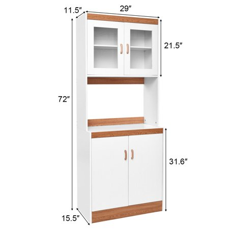 Gymax Tall Microwave Cart Stand Kitchen Storage Cabinet Shelves Pantry Cupboard White - image 2 of 10