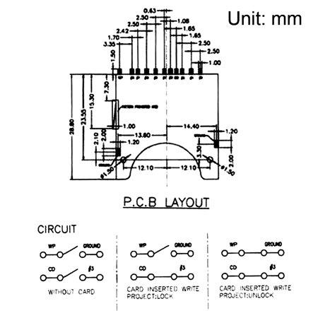 SD Memory Card Socket Holder Spring Loaded Push Type 10 Pin 20pcs - image 2 of 4