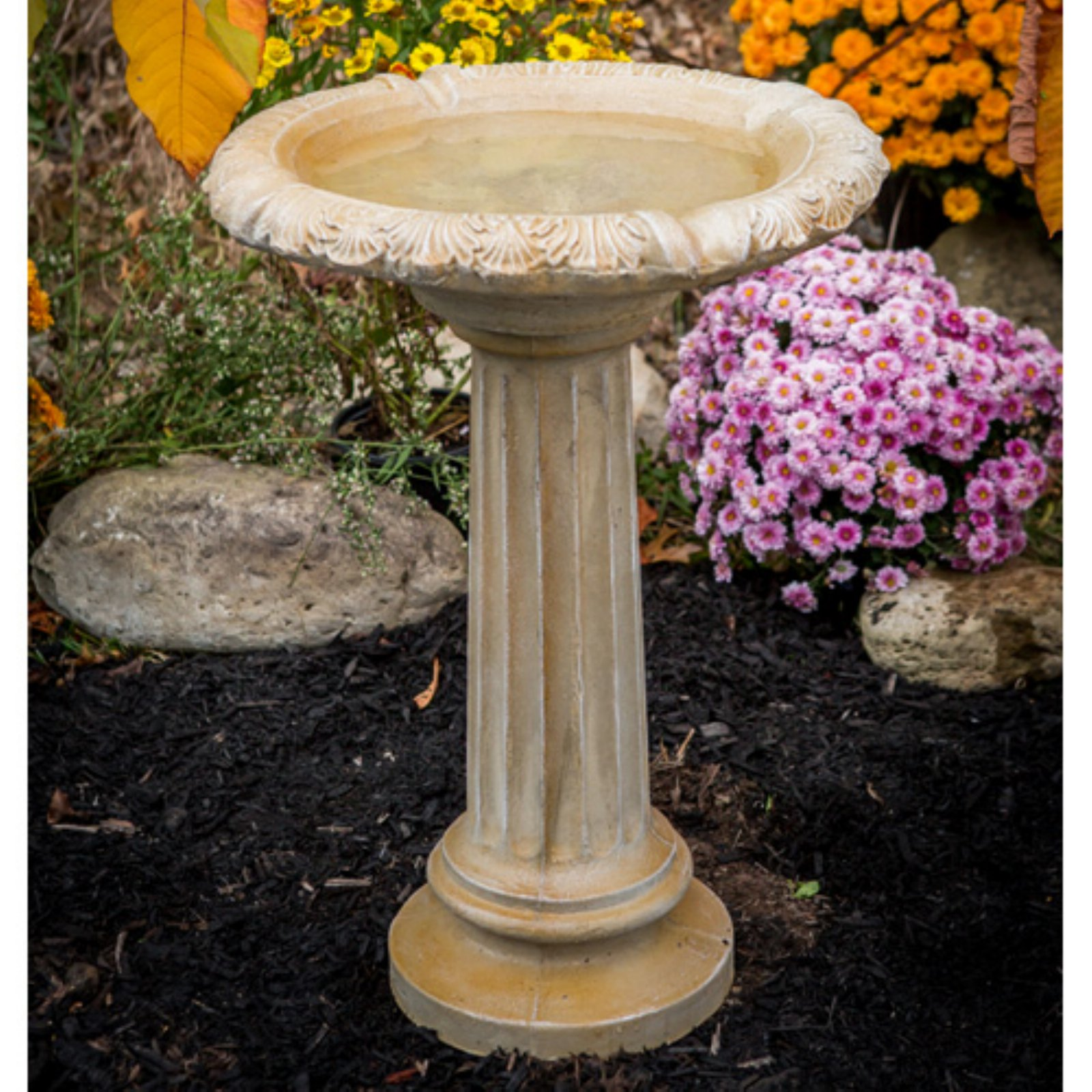 Athena Garden Cast Stone Fancy Column Bird Bath