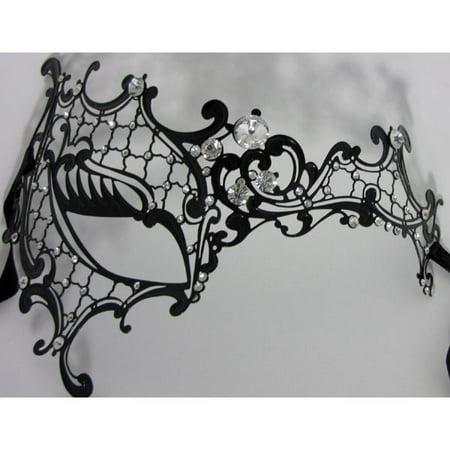 Phantom of the Opera Inspired Lady Half Face Laser Cut Metal Mask Black
