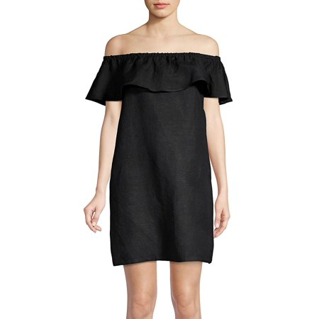 Ruffled Linen Off-the-Shoulder Dress