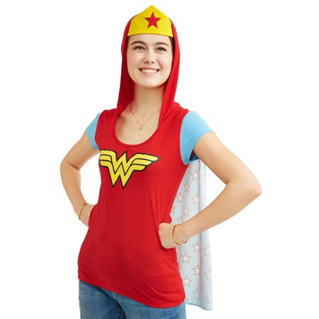 Juniors DC Comics Wonder Woman Lightweight Hooded Cosplay Tee w/ Removable Cape