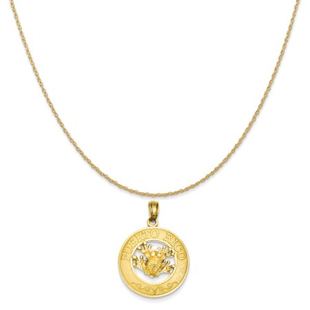 14k Yellow Gold Puerto Rico with Frog Pendant on a 14K Yellow Gold Rope Chain Necklace, 20