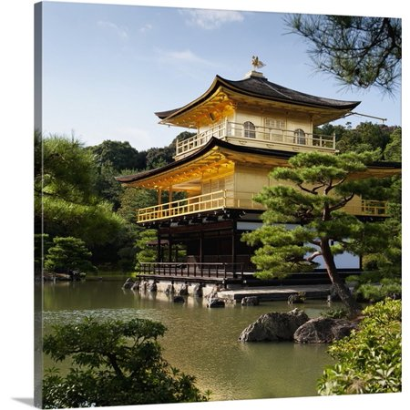 Great BIG Canvas Keith Levit Premium Thick-Wrap Canvas entitled Golden Pavilion, A Buddhist Temple; Kinkaku Ji, Kyoto, Japan