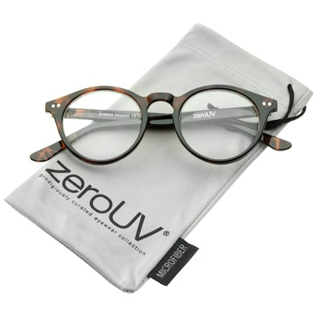 zeroUV - Retro Keyhole Nose Bridge Clear Lens P3 Round Glasses 46mm - 46mm Retro P3 Round Glasses With Clear Lenses & Keyhole Nose Bridge