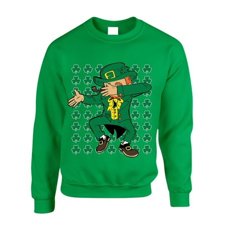 Allntrends Adult Crewneck Sweatshirt Irish Dab Dabbing Leprechaun St Patricks Day Shamrock