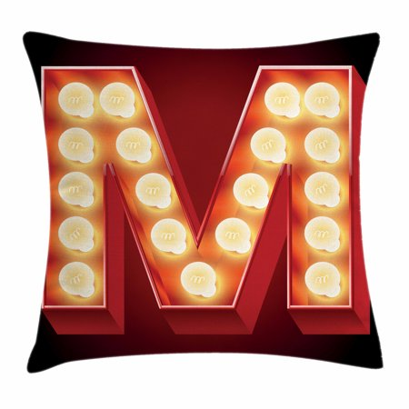 Letter M Throw Pillow Cushion Cover, Vintage Alphabet Collection of Old Movie Theaters Casinos Retro Type, Decorative Square Accent Pillow Case, 16 X 16 Inches, Vermilion Yellow Black, by Ambesonne (Decorative Pillows Theater)