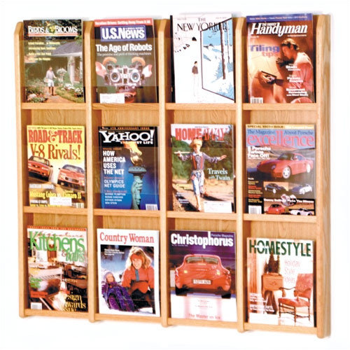 Wooden Mallet 12 Pocket Magazine Wall Display
