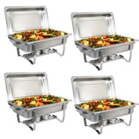 Zeny Upgraded 8 Qt Stainless Steel Chafer Dishes, Full Size Chafer Chafing Dish w/Water Pan, Food Pan, Alcohol Furnace and Lid (Pack of 4)