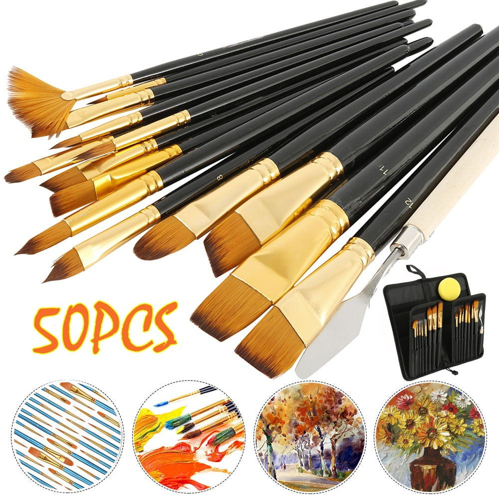 Nylon Hair Brushes for Oil 50pcs Artist Paintbrushes Set Acrylic Painting Students Artists Professional Painting Kit Watercolor