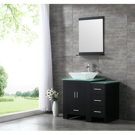 Black Vanity Cabinet - 36inch Black Bathroom Vanity Cabinet Top Single Vessel Sink and Faucet Combo