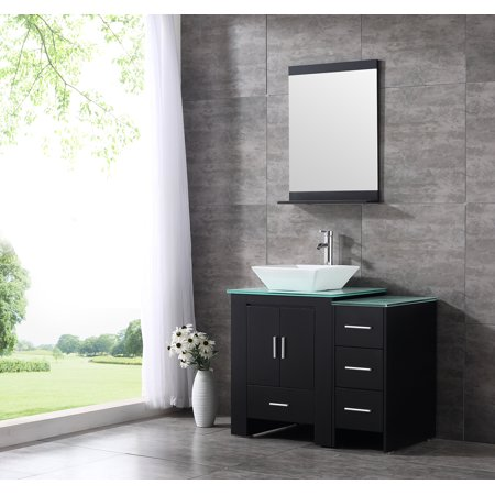 36inch black bathroom vanity cabinet top single vessel - Walmart bathroom vanities with sink ...