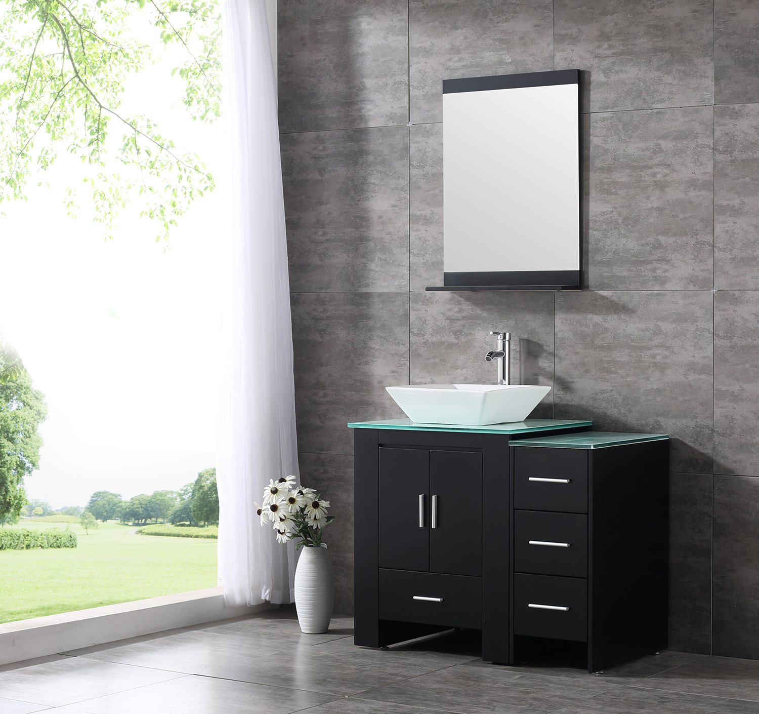 Superieur 36inch Black Bathroom Vanity Cabinet Top Single Vessel Sink And Faucet Combo