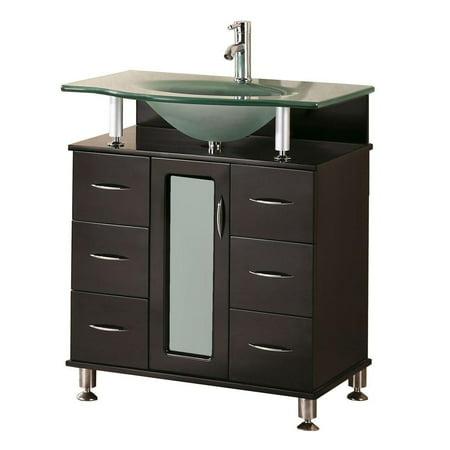 "Design Element Huntington 30"" Single Sink Bathroom Vanity Set in Espresso"