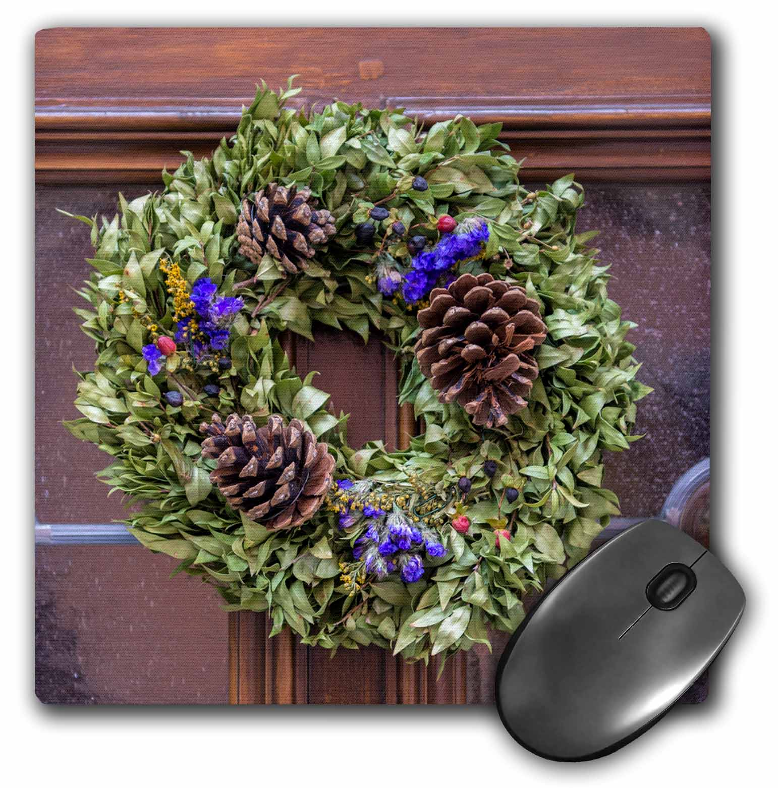 3dRose Decorative holiday wreath on front door, Rothenburg, Germany, Mouse Pad, 8 by 8 inches
