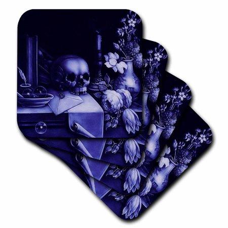 3dRose Vanitas - skull, skull, purple, table, macarbe, halloween, deep purple, Soft Coasters, set of 8](Halloween Roller Coaster)