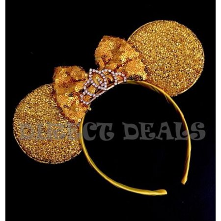 Minnie Mouse Princess BIG Silver Gold Tiara Crown Headband Shiny Yellow Gold - Big Tiaras
