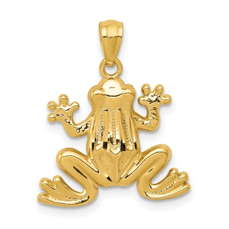 14k Yellow Gold Frog Pendant Charm Necklace Animal Fine Jewelry For Women Gift Set 24k Gold Plated Frog
