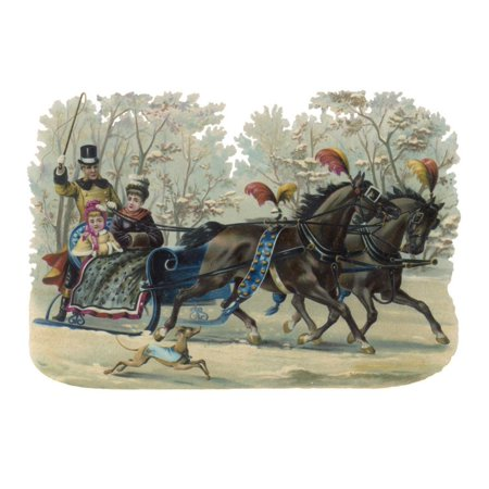 Older and Younger Sisters Ride in a Sleigh While their Dog Runs Beside Them Print Wall