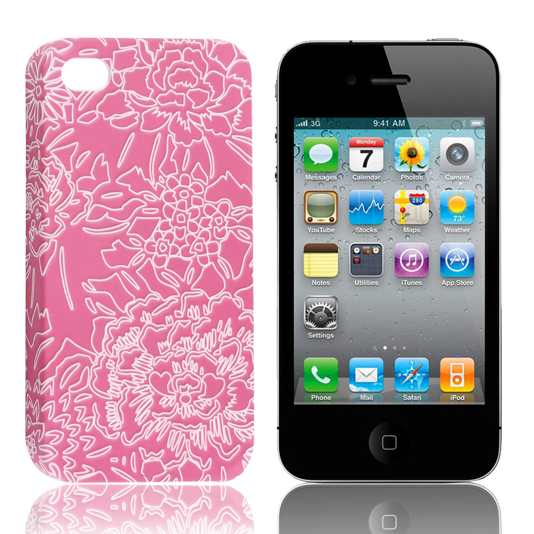 Fuchsia White Flowers Phone Hard Back Case Cover for iPhone 4 4G 4S 4GS