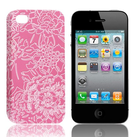Unique Bargains Fuchsia White Flowers Phone Hard Back Case Cover for iPhone 4 4G 4S 4GS