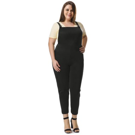 Women's Plus Size Pinafore Overalls w Side Pockets (Adult Overalls)