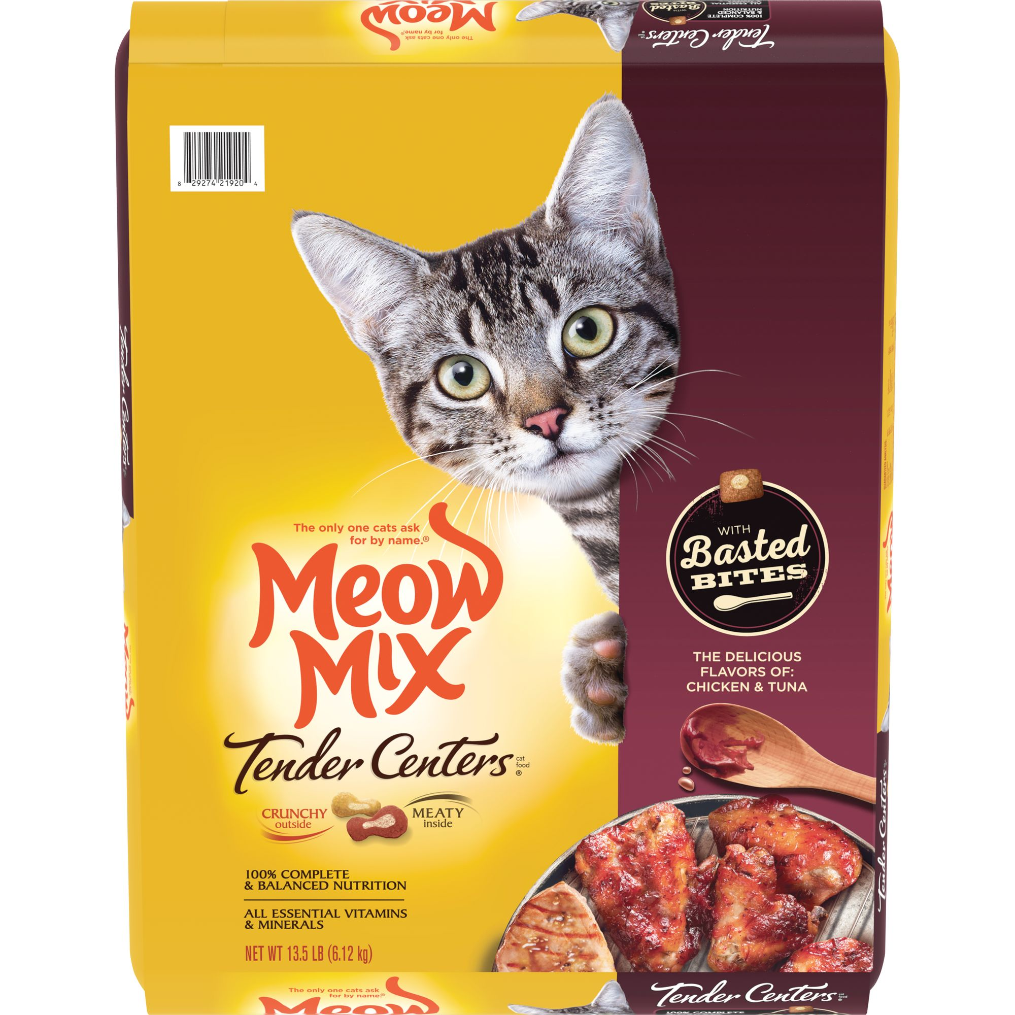 Meow Mix Tender Centers Basted Bites With Chicken & Tuna Dry Cat Food, 13.5 lb